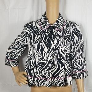 Sunny Leigh black and white zebra print blazer
